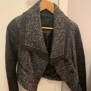 Jackets & Blazers - BCBG Black and white tweed and leather jacket